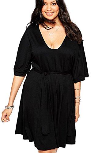 Damen Kurzarm Plissee Swing Partykleid Brautkleider in Übergrößen schwarz