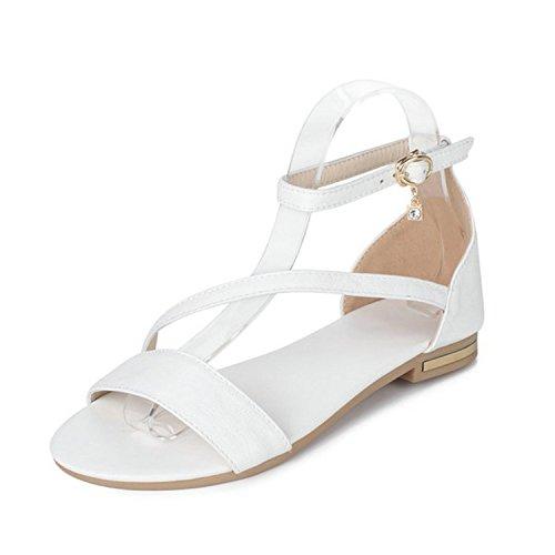 Special-Shop Summer Women Sandals Low Heel Women Shoes Round Toe Westrn Style Buckle Black Women Sandals,White,6