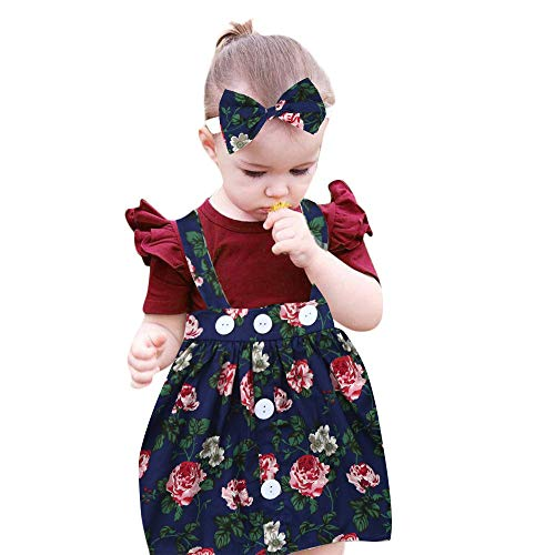 Sameno 3Pcs Toddler Kids Baby Girls Overalls Skirt +Headband+Romper SummerDress Skirt Dress Clothing Outfit (Navy, 12-18 Months)