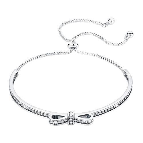 BAMOER 925 Sterling Silver Adjustable Bow Chain Bracelet Half Bar CZ Bracelet for Women Girls