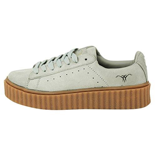 SKUTARI Damen - Plateau Low Sneakers Wildleder Schuhe, Grau , Größe 38