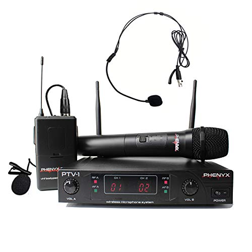 Vhf Mic Lavalier (Phenyx Pro VHF Wireless Microphone System, 1 Handheld Mic 1 Headset Mic 1 Lapel Mic 1 Bodypack Combo, Reliable Performance, Fixed Frequency, Ideal for Church, Presentation, Public Address, Interview)