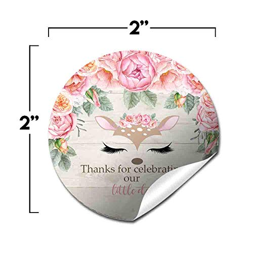 Deer Face Watercolor Floral Little Deer Thank You Sticker Labels for Girls, 40 2'' Party Circle Stickers by AmandaCreation, Great for Party Favors, Envelope Seals & Goodie Bags by Amanda Creation (Image #1)