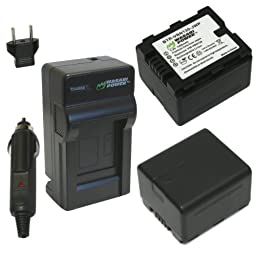 Wasabi Power Battery (2-Pack) and Charger Kit for Panasonic VW-VBN130 and Panasonic HC-X800, HC-X900, HC-X900M, HC-X910, HC-X920, HC-X920M, HDC-HS900, HDC-SD800, HDC-SD900, HDC-TM900 (1400mAh)