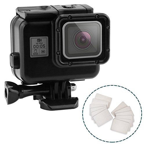 Impact Imagery - Blackout Underwater Housing for Gopro Hero 5 6 & 7 with Anti Fog Inserts - Matte Protective Waterproof Dive Shell - 40m Deep Water Scuba Case - Includes Solid & Touch Back Door Option ()