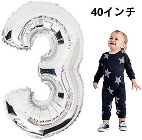 3歳 90cm 風船 シルバー 数字 3バルーン 誕生日/記念日パーティー イベント、学園祭、店の飾り、写真の背景、お祝い日などの場合に適用して  (シルバー数字3) (90-yingse-13)