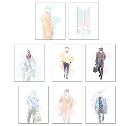 f9903f6269d Crystal BTS KPOP Poster Prints - Set of Eight Matte Watercolor Fanart  Bangtan Boys Decor Wall Art Photos 8x10 Jin - Suga - J-Hope - Rap Monster -  Jimin - V ...