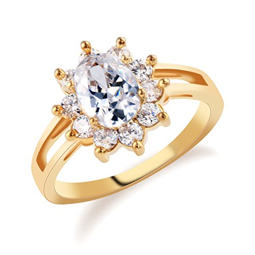 GULICX Women Gold Tone Clear Zircon Oval Solitaire Ring Crystal Wedding Ring Size 7,8,9,10