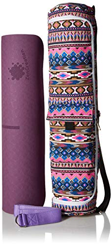 ZenCreation Yoga Mat with Body Alignment Lines (Double Layer, Purple and Pink, 72 by 24 inches, Comes with a Carrying Bag and Yoga Strap)