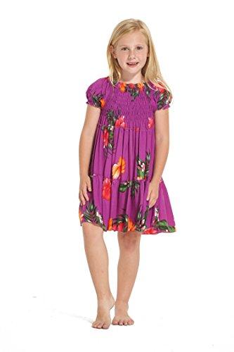 Girl Hawaiian Short Sleeve Elastic Top Dress In Purple Floral Size 10
