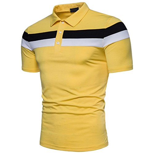 Mens T-shirt ! Charberry Mens Stitch POLO Shirt Short Sleeve Fashion Personality Casual Slim Short Sleeve Patchwork T Shirt Top Blouse (US-L/CN-XL, Yellow) from Charberry