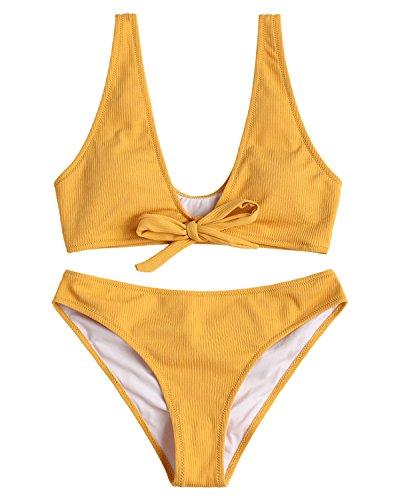 (ZAFUL Women Bowtie Ribbed Bikini Set Texture Tied Scrunch Butt Swimsuit Padded Bathing Suit,Yellow L)