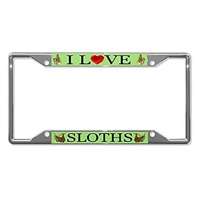 License Plate Covers I Love Sloths Animal Chrome License Plate Frame Tag Holder Four Holes - Bobbit