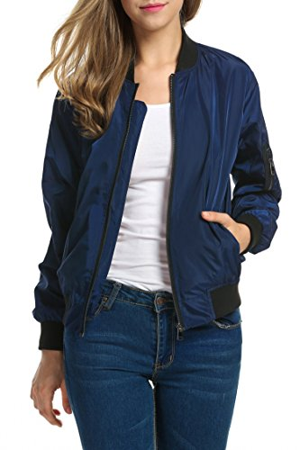 Zeagoo Women Classic Solid Biker Jacket Zip Up Bomber Jacket Coat 41 2BQnZm6QWL