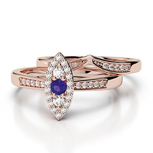 Or Rose 18carats 0,10ct G-H/VS Certifié Coupe ronde tanzanite et diamants Mariage Bague de fiançailles et ensemble de Agdr-1050