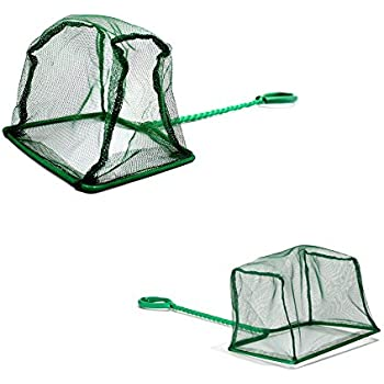 Pawfly 6 Inch Aquarium Fish Net Large Nylon Fishing Nets with Plastic Handle for Fish Tank, Green