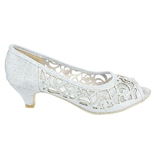 Material para de AARZ mujer Plateado plata LONDON vestir de Zapatos Sintético 0qxHwxap