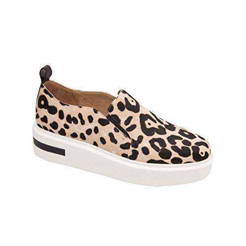 - Kai | A Luxe Update on a Classic Slip-On Platform Skater Sneaker White/Black Leopard Print Hair Calf 12M