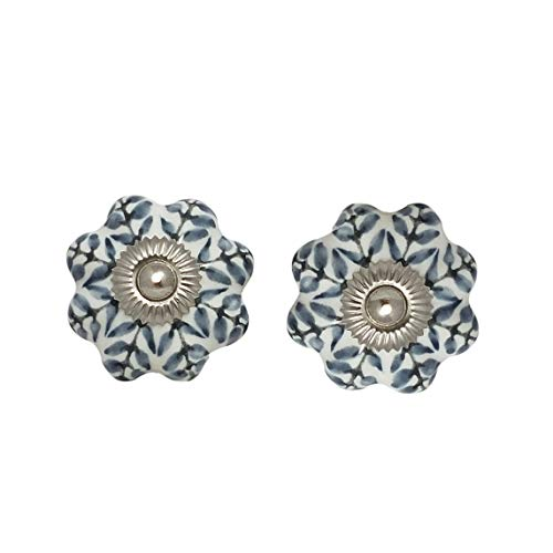 Handmade Grey Leafs Designs 8 Pieces of Ceramic Knobs for Pulls Your Drawers by M A IMPEX
