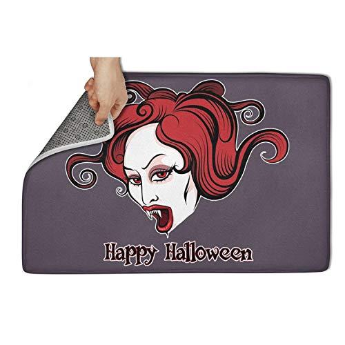 (Koldd Halloween Vampire Woman Outdoor Door Mats 23.5x15.5 No Lint Doormat No Slip Household)