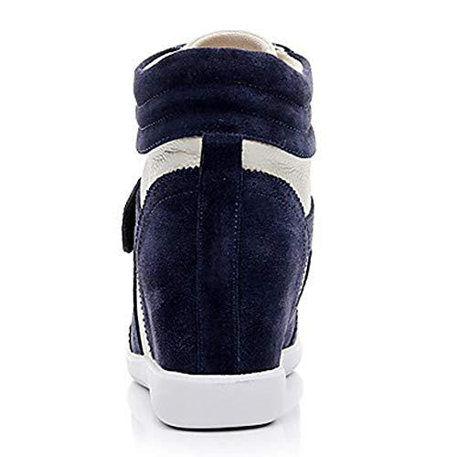Blue Punta Autunno Donna Stivali Scarpe Marrone Bianco TTSHOES White Blue Inverno Sneakers Tonda Pelle E EU40 US9 UK7 CN41 Rosa Per Zeppa Comoda 5vnIcwqT7