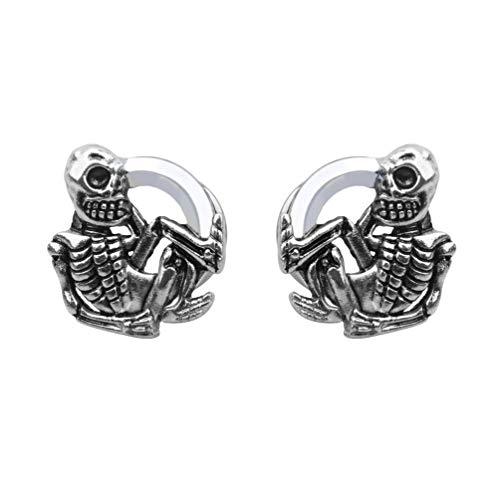 - Skull Stainless Steel Ear Plugs Tunnels Gauges Earrings Stretcher Screw Expanders Kit Punk Rock Piercings Body Jewelry (0g(8mm))