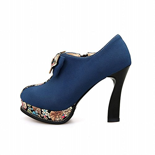 Latasa Womens Chic Bow & Print Platform High-heel Ankle-high Dress Boots Dark Blue dsMybV6C1K