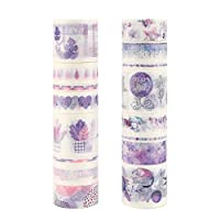 Molshine Set of 16 Washi Masking Tape, Color Life Series, Sticky Paper Tape for DIY, Decorative Craft, Gift Wrapping, Scrapbook