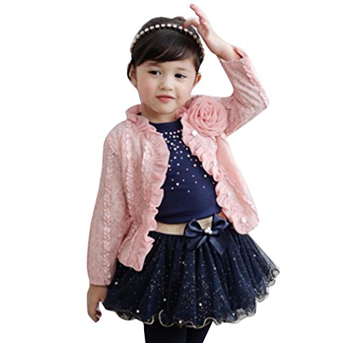 School Girl Outfit For Sale (DaySeventh Kid Girls Outfit Clothes Lace Coat+T-shirt+Short Princess Yarn Skirt 1Set (4T, Pink))