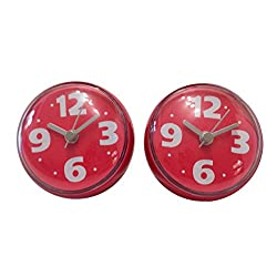 Bilik Shower Wall Clocks (Set of 2) - Water Resistant Colorful Fun Childrens Bathroom Accesssories - Red