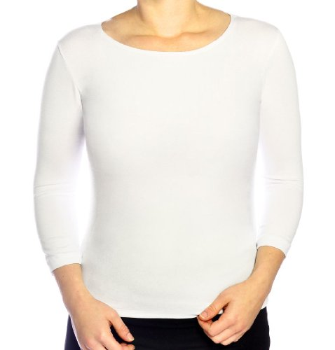 - Kosher Casual Women's 3/4 Sleeve Boat Neck Layering Knit Top Extra Large White
