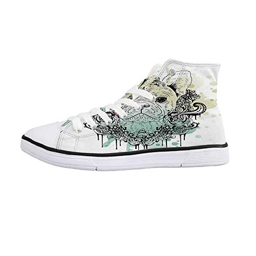 Animal Comfortable High Top Canvas Shoes,French Bulldog with Floral Wreath on Brushstroke Watercolor Print for Women Girls,US -
