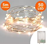 Fairy Lights 50 Micro LED 5m Warm White Indoor Christmas Lights Festive Wedding Bedroom Novelty Decorations Tree String Lights Battery Powered 16ft Lit Length Silve