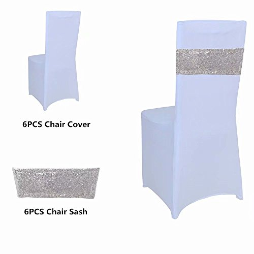 Custom Chair Sashes - GFCC White Color Spandex Folding Stretchable Chair Covers, Silver Sequin Chair Sash for Wedding, Pack of 6