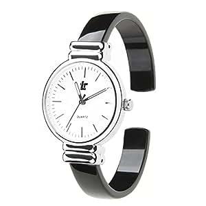 Moda Relojes Mujer Relojes Chica Simple Dial de Escala Especial Color Reloj Pulsera Correa de Fibra de Acetato Relojes de Pulsera Para Mujer, Negro