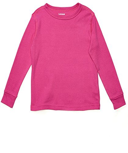 Leveret Long Sleeve Solid T-Shirt 100% Cotton (8 Years, - Shirt Color Magenta