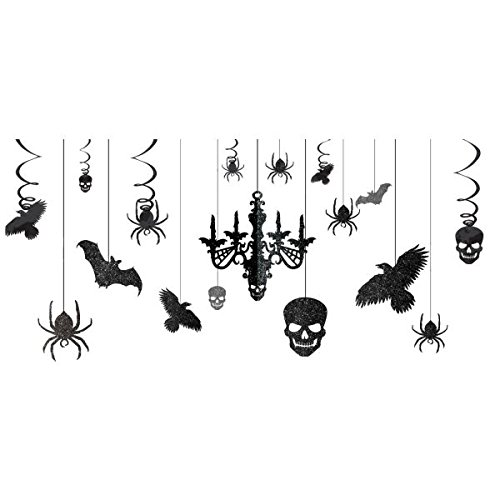 """: Glitter Haunted House Chandelier Halloween Trick or Treaty Party Decorating Kit, Paper, 15"""" x 17"""", Pack of 17."""
