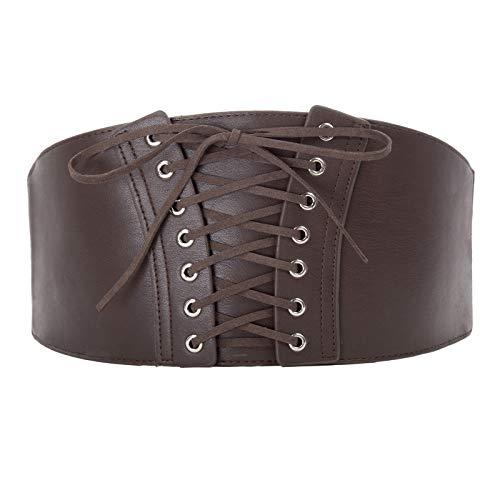 (Punk Underbust Shapewear Corset Belts Cincher (S,Coffee)
