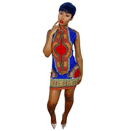 VESNIBA Women African Print Dress Casual Straight Bohemia Sleeveless Mini Dresses (M, Blue) (Adult African King Costume)