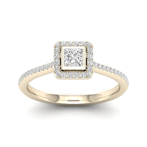 (De Couer 10k Yellow Gold 1/3Ct TDW Princess Diamond Halo Engagement Ring Set (I-J,I2))