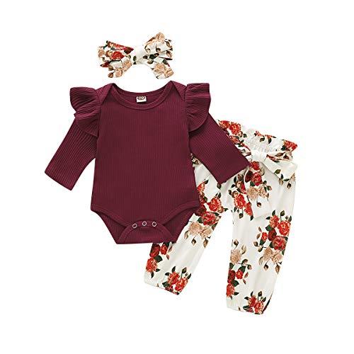 CARETOO 3Pcs Baby Girls Bodysuit Tops Outfits Set Soft Cotton Infant Girl Long Sleeve Clothes Sets