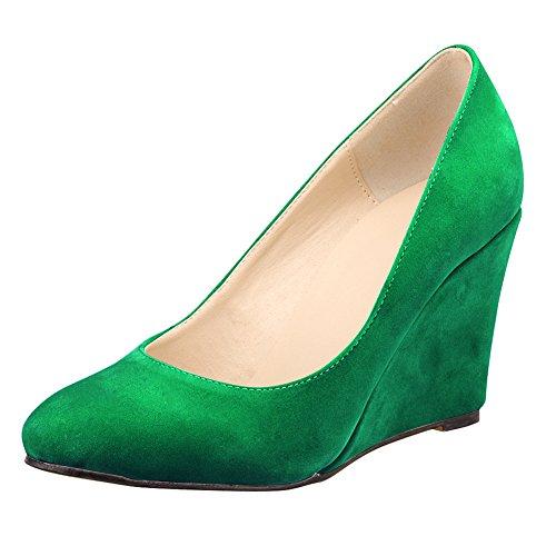 Damen Pump Lackleder Office Kleid Velvet Keilabsatz Samt Green 55c7IZqr