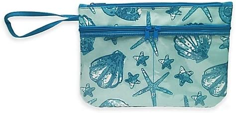 Seashell Swimsuit Sack with Clear Vinyl Storage Pockets in Blue