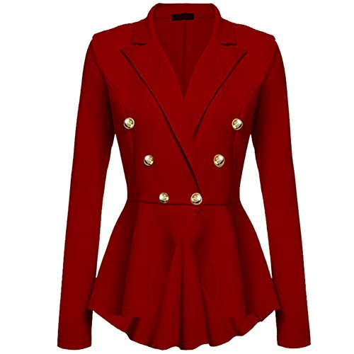 Newbestyle Women's Steampunk Vintage Peplum Blazer One Button Crop Frill Ruffle Hem Military Blazer Jacket Coat Red (Two Button Vintage Blazer)