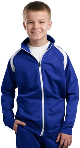Sport-Tek Youth Tricot Track Jacket, True Royal/White, Medium
