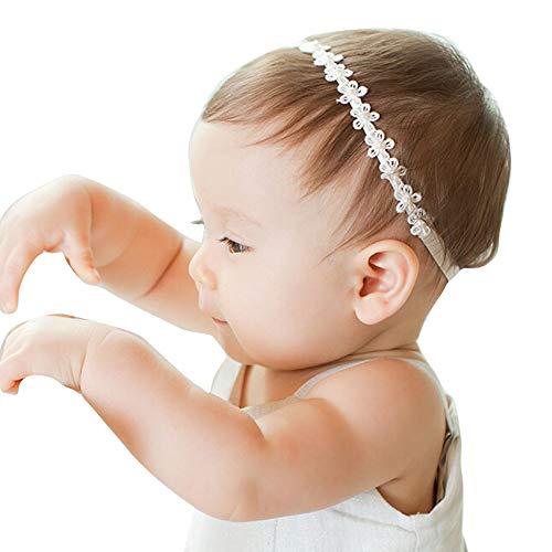 ❤️ Mealeaf ❤️ Baby Girls Princess Lace Flowers Diamond Pearl Headbands Elastic Hairbands(White ,)