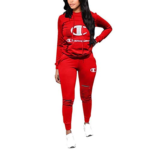 - Womens 2 Piece Outfits Letter Print Long Sleeve Sweat Hoodie Top Set and Skinny Pants Jumpsuit Sportsuits (red, Medium)