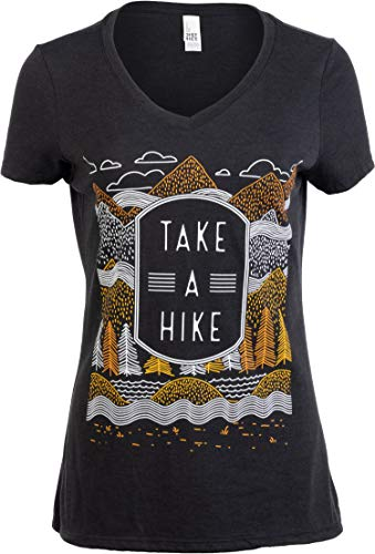 (Take a Hike | Outdoor Nature Hiking Camping Graphic Saying for Women T-Shirt Top-(Vneck,XL) Vintage Black)