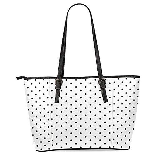 - InterestPrint White and Black Polka Dot Women's PU Leather Tote Shoulder Bags Handbags