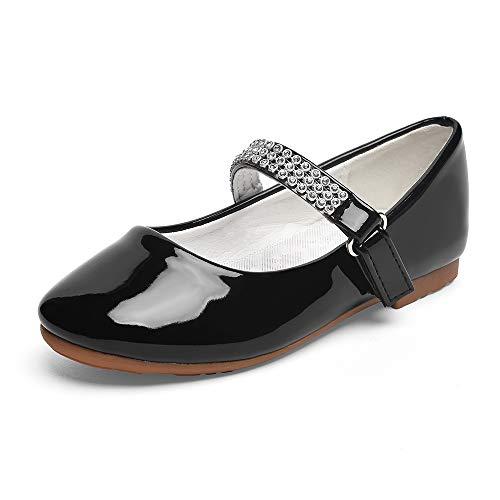 STELLE Girls Mary Jane Shoes Slip-on Party Dress Flat for Kids Toddler (11ML, Black)